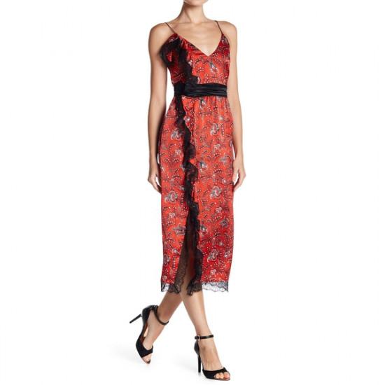 Cinq à Sept Petra Sleeveless Lace-Trim Faux-Wrap Silk Dress