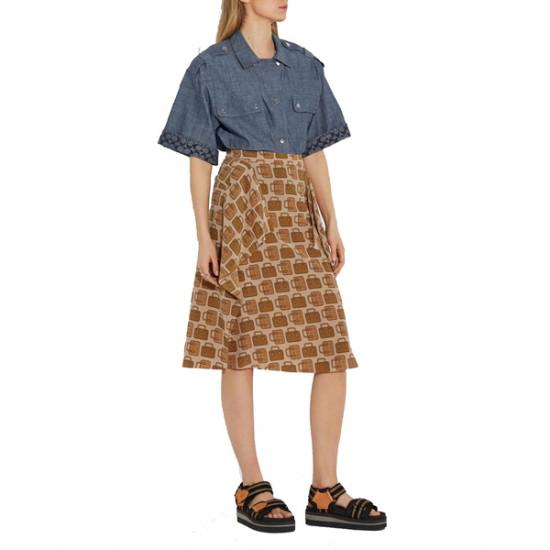Coach Bag Print Draped Silk Midi Skirt