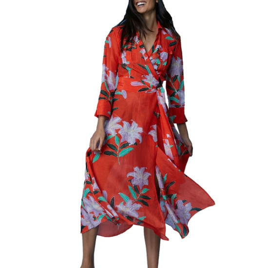 Diane von Furstenberg Argos Clementine Collared Wrap Dress