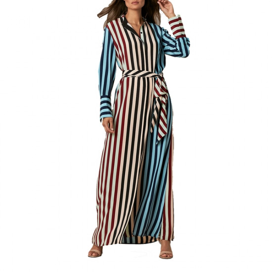 Diane von Furstenberg Carrington Stripe Pacific Long-Sleeve Floor-Length Shirtdress