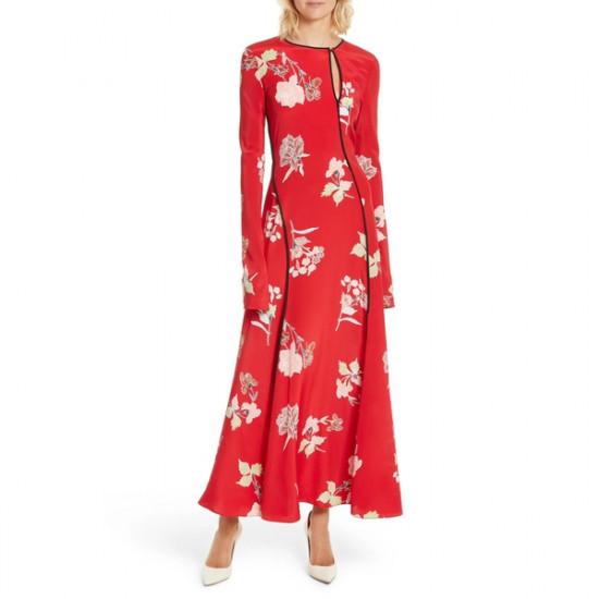 Diane von Furstenberg Everton-Print Bias-Cut Long Silk Dress
