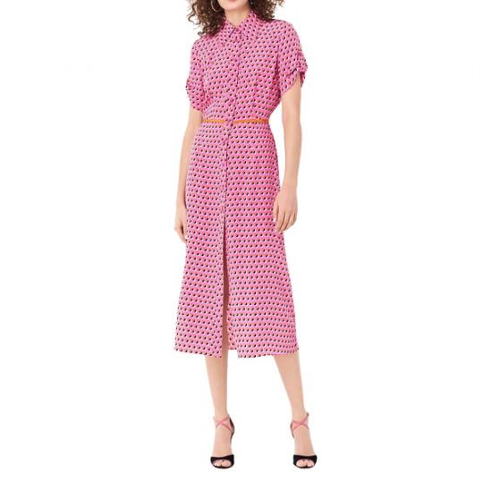 Diane von Furstenberg Georgia Silk Crepe De Chine Midi Shirt Dress