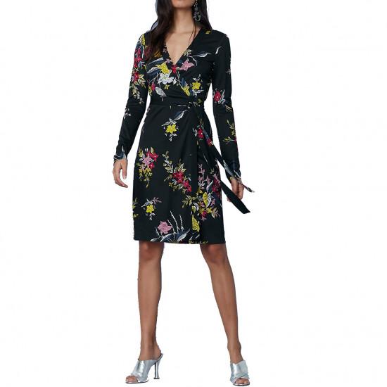 Diane von Furstenberg Julian Banded Long-Sleeve Wrap Dress