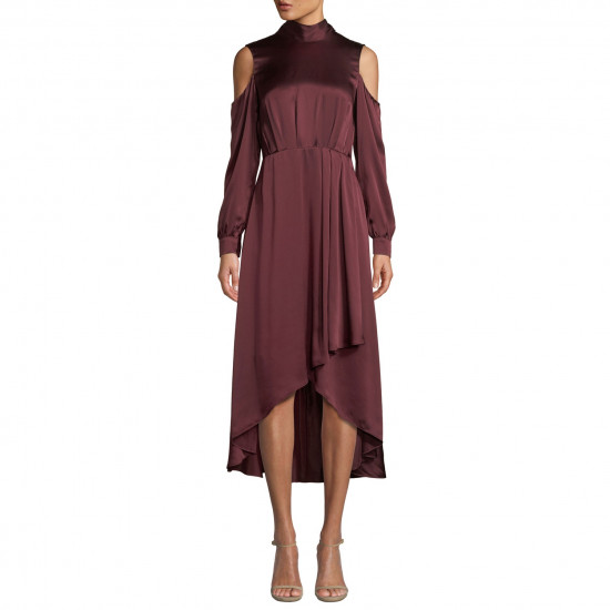 Diane von Furstenberg Silk Satin High-Low Mockneck Midi Dress