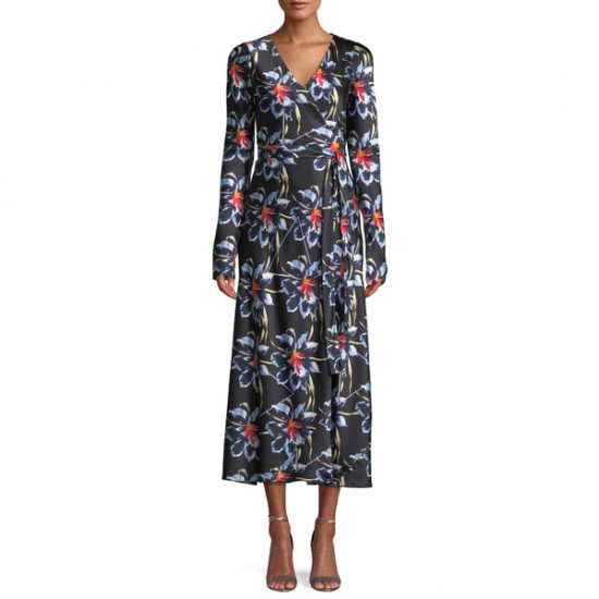Diane von Furstenberg The DVF Tilly Lanell Floral Print Satin Dress