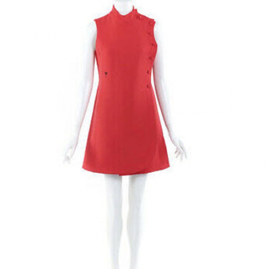 Dior Embroidered Bee Detail Wool-Silk Buttoned Dress