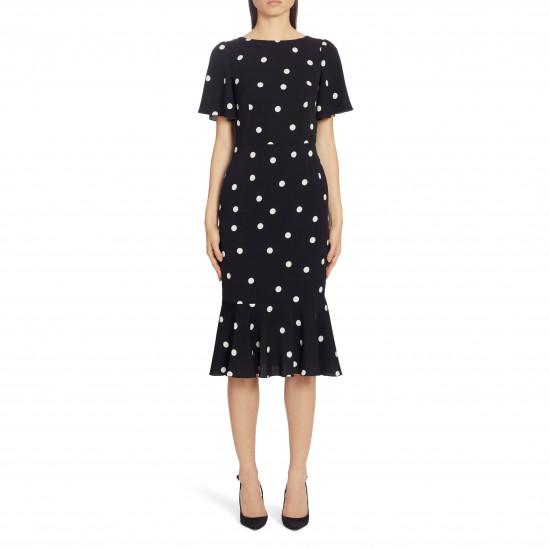 Dolce & Gabbana Polka Dot Silk Midi Dress