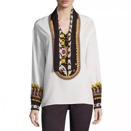 Etro Lhamu Suzani-Print Silk Blouse