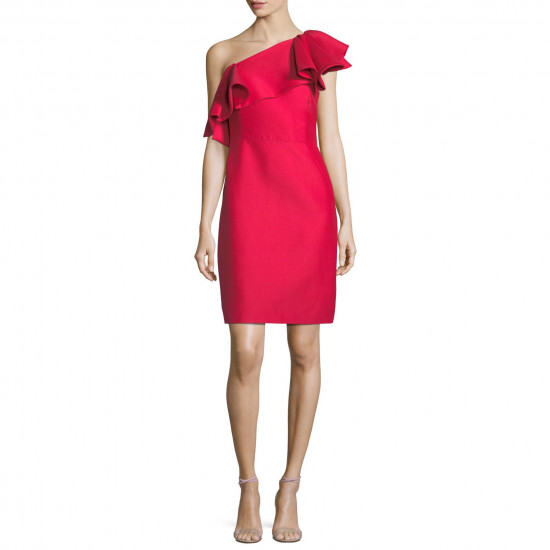 Halston Heritage One-Shoulder Flounce Mini Dress