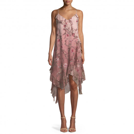 Haute Hippie Robbers Roost A-Line Ruffle Rose-Print Chiffon Dress