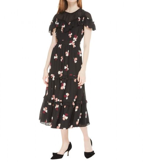 Kate Spade Dusk Buds Ruffle Midi Dress