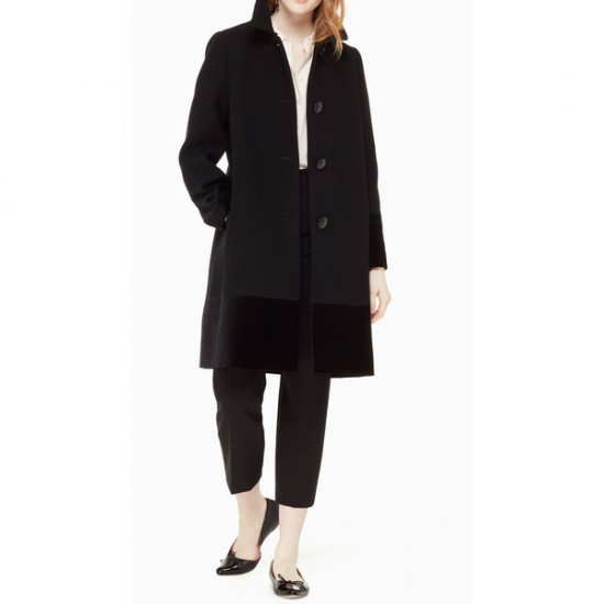 Kate Spade Faux Fur Collar Velvet-Trim Coat