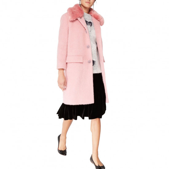 Kate Spade Faux Fur Trim Coat
