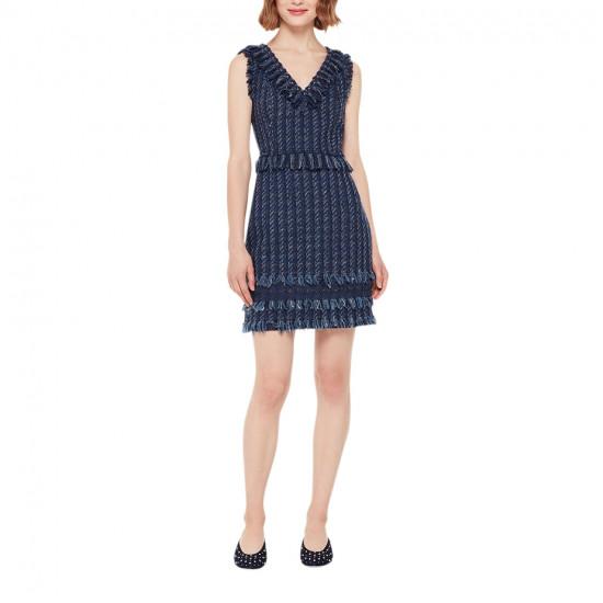 Kate Spade Madison Avenue Fringe V-Neck Tweed Dress