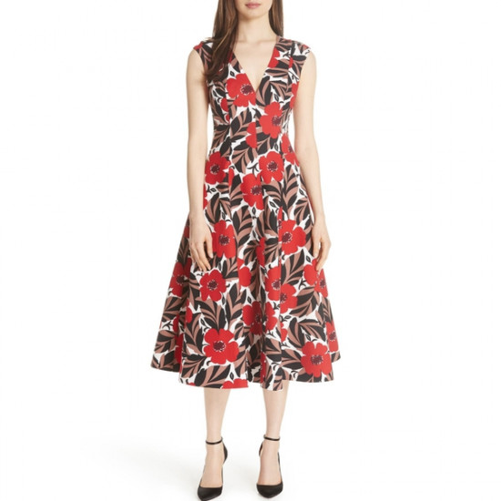 Kate Spade Poppy Field Structured Midi Dress
