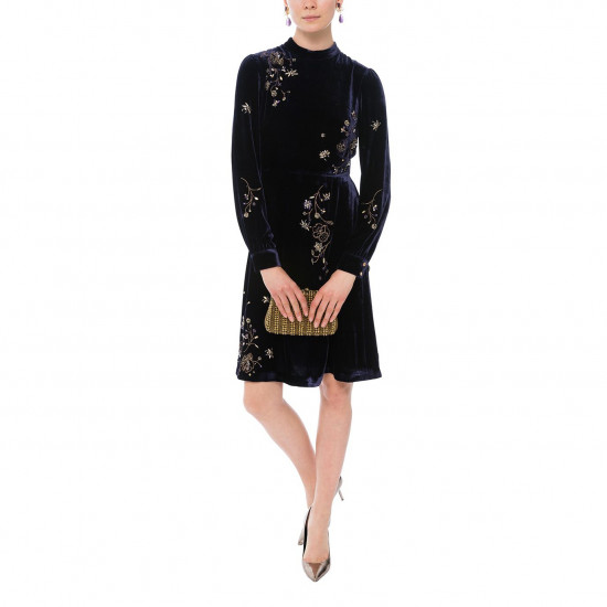L.K. Bennett Che Embellished Velvet Dress