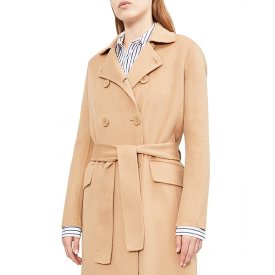 Maje Geola Long Double-Faced Wool Coat
