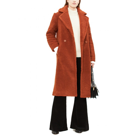 Maje Gourson Long Faux Fur Coat