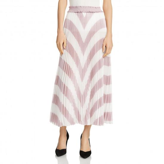 Maje Joro Pleated Stripe Skirt