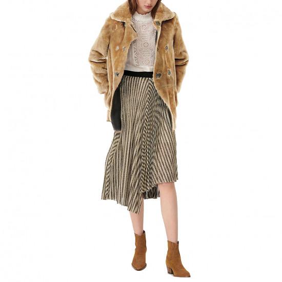 Maje Jungla Asymmetric Stripe Lurex Pleated Skirt