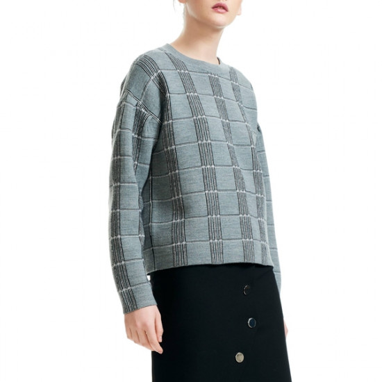Maje Mission Grid Pattern Wool Blend Sweater