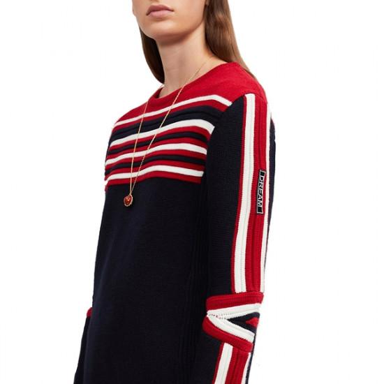 Maje Moto Striped Wool-Blend Sweater