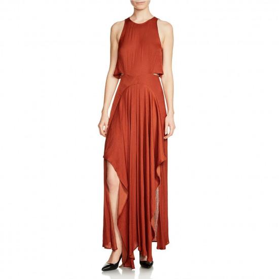 Maje Ranita Cutout Satin Maxi Dress