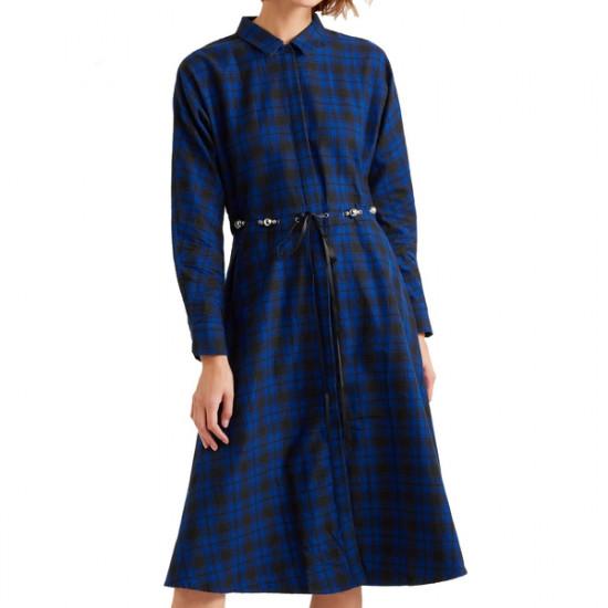 Maje Rebel Belted Check Cotton-Flannel Midi Dress