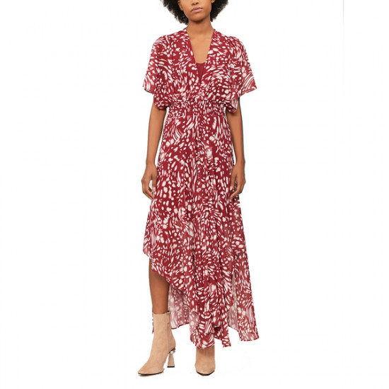 Maje Richelle Long Printed Asymmetric Dress