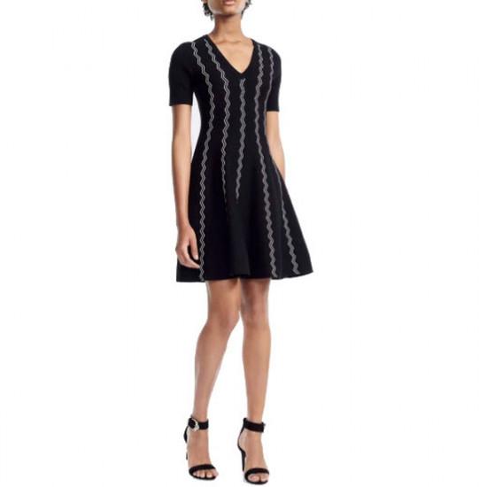 Maje Rigole Zig Zag Jacquard Knit Dress