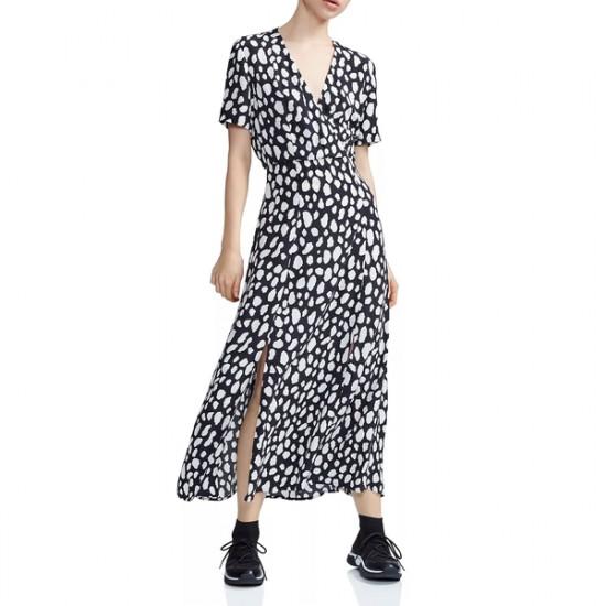 Maje Riline Printed Crepe Wrap-Effect Midi Dress