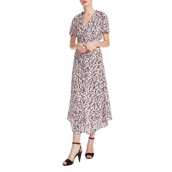 Maje Rivara High-Low Floral Surplice Dress