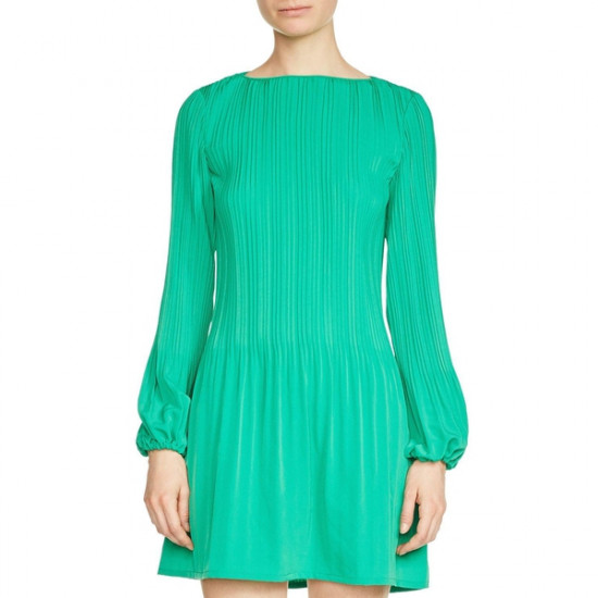 Maje Rockina Pleated Crepe Mini Dress