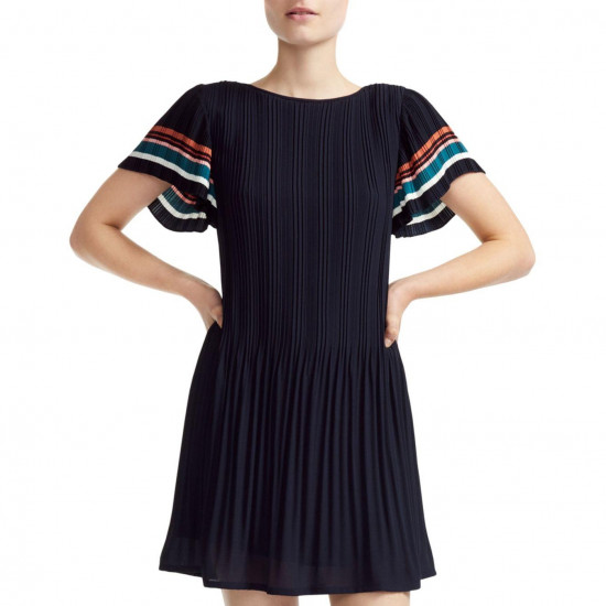 Maje Rolini Pleated Mini Dress