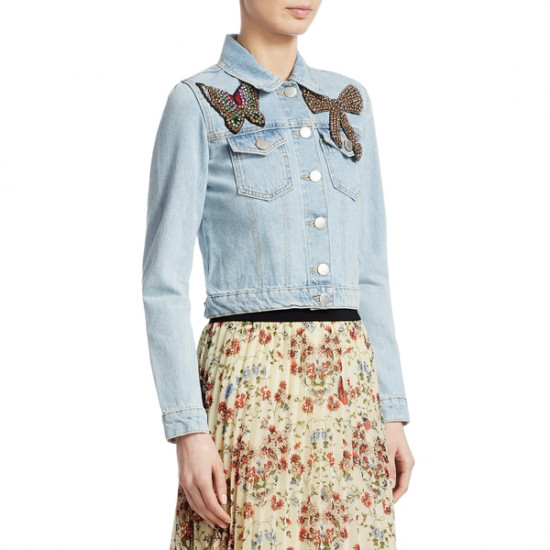 Maje Vivou Embellished Denim Jacket