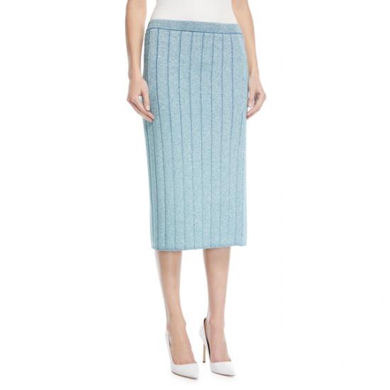 Marc Jacobs Metallic Rib-Knit Pencil Skirt