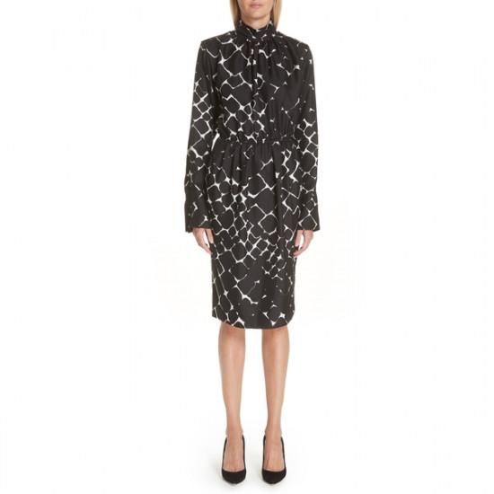 Marc Jacobs Printed Silk Turtleneck Midi Dress