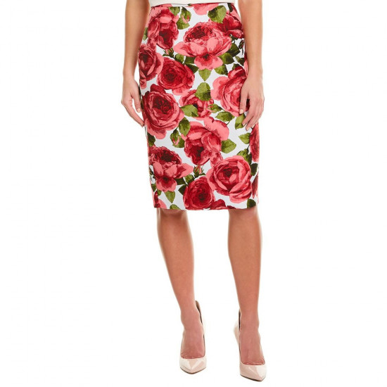 Michael Kors Collection Rose Jacquard Pencil Skirt