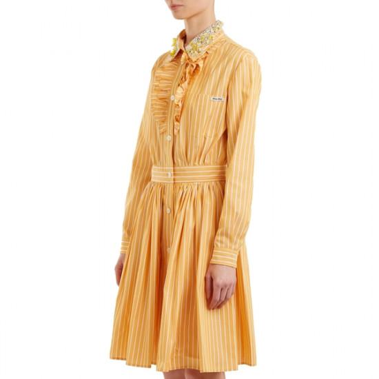 Miu Miu Embellished-collar Striped Cotton Shirtdress