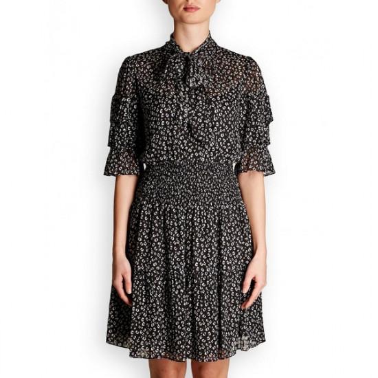Rebecca Taylor Cheetah Print Silk Blend Dress