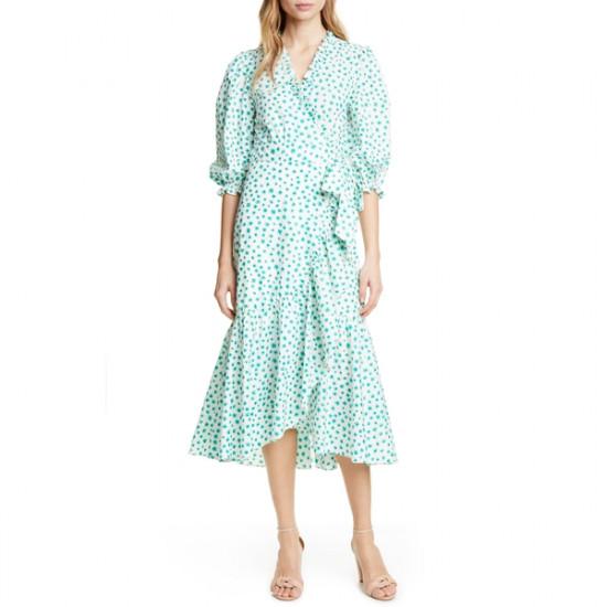 Rebecca Taylor Emerald Daisy Ruffle Detail Cotton Dress