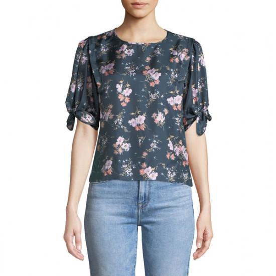 Rebecca Taylor Emilia Crewneck Tie-Sleeve Floral-Print Top