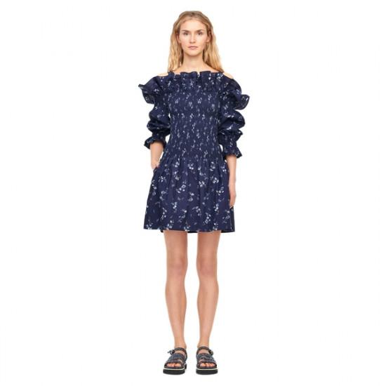 Rebecca Taylor Francine Floral Cold-Shoulder Dress