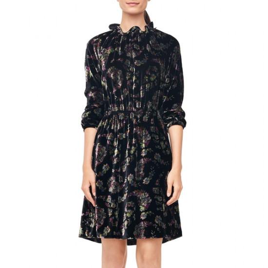 Rebecca Taylor Long-Sleeve Jewel Paisley Velvet Dress