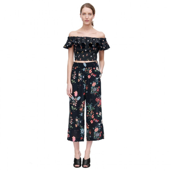Rebecca Taylor Meadow Off-the-Shoulder Floral Top