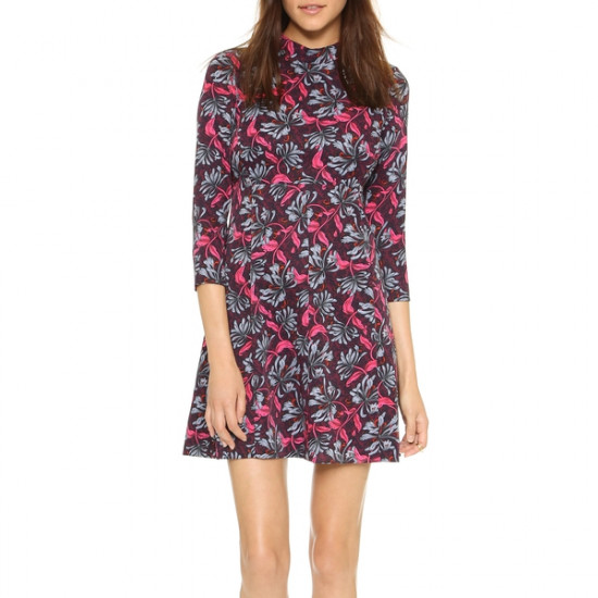 Rebecca Taylor Mystic Long-Sleeve Mockneck Dress