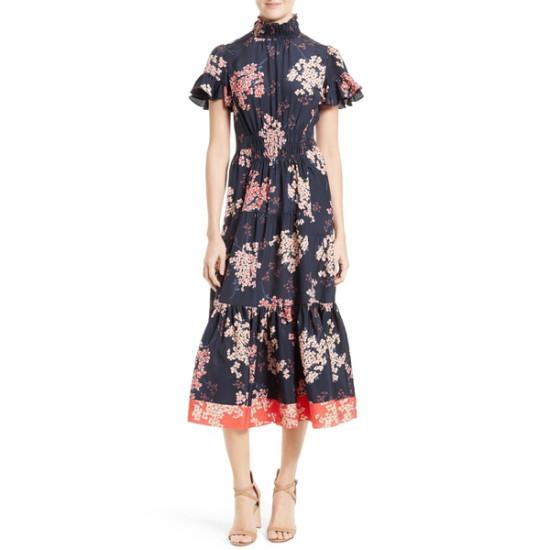 Rebecca Taylor Phlox Floral Silk Midi Dress