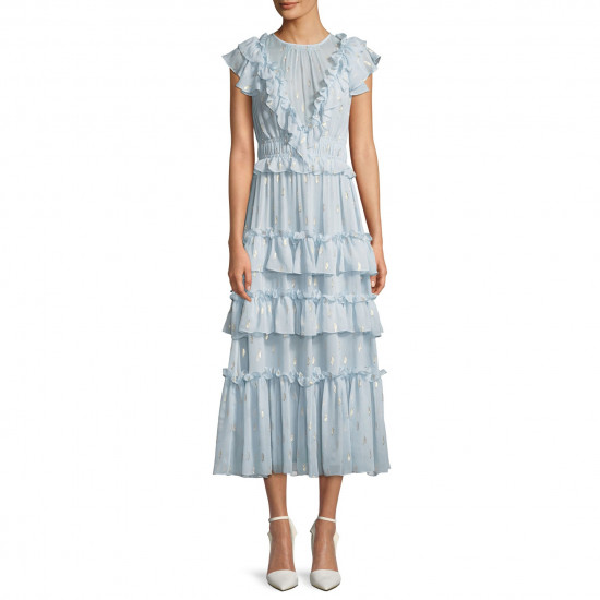 Rebecca Taylor Tiered Ruffle Fil Coupé Silk-Blend Dress