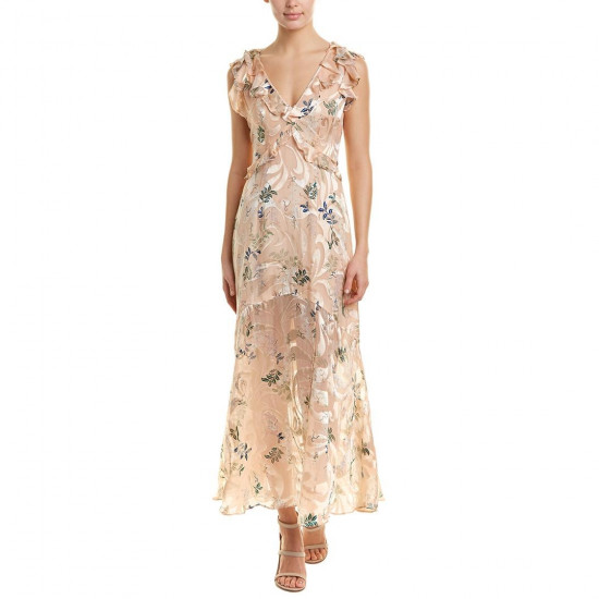 Reiss Almeria Floral Devoré Silk-Blend Maxi Dress
