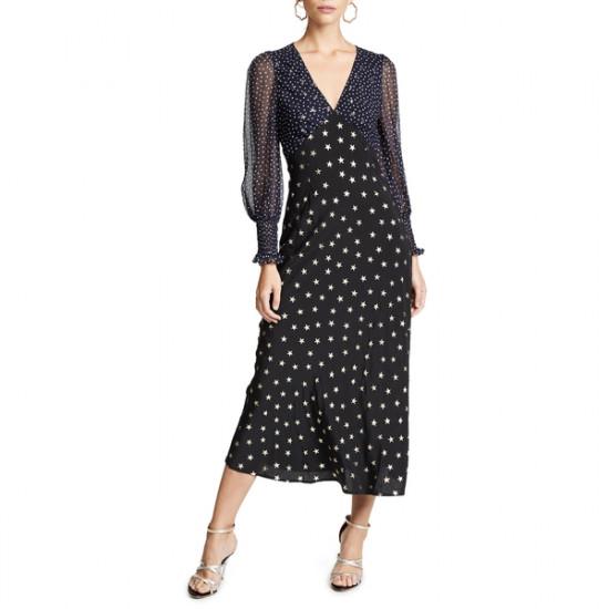 Rixo London Erin Star Printed Silk Dress
